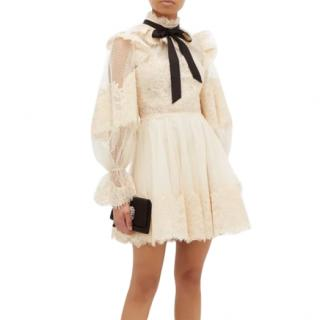 Zimmermann Espionage pussy-bow guipure-lace mini dress