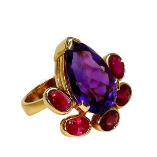 Bespoke Amethyst Ruby & Garnet ring