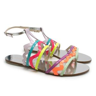 Sophia Webster Metallic Neon Strappy Sandals