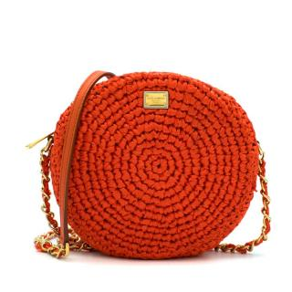 Dolce & Gabbana Orange Straw Round Crossbody Bag