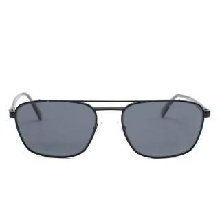 Prada Black/Polarised Grey Pilot Sunglasses