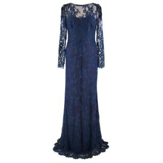 Marchesa Notte Navy long sleeve lace gown