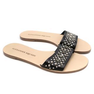 Alexander McQueen Black Studded Slides