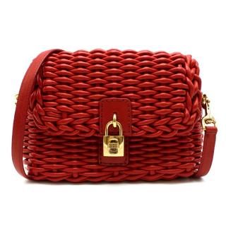 Dolce & Gabbana Red Woven Leather Crossbody Bag