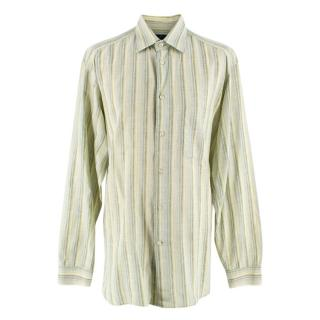 Zegna Sport Green Striped Cotton Blend Shirt