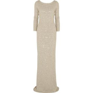 Oscar De La renta sequin embellished gold gown