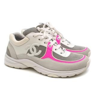 Chanel Fabric and Suede CalfSkin Sneakers with Neon Pink Trim