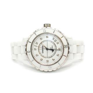 Chanel White Ceramic, Steel & Diamond J12 Watch