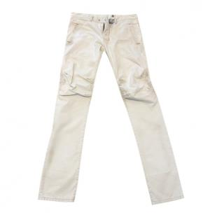 Balmain Cream Distressed Biker Jeans