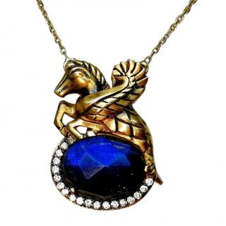 Atasay Bespoke Blue Quartz & Diamond Solid Gold Pendant Necklace