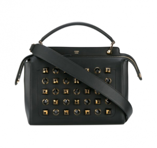 Fendi Black & Gold Studded Dotcom Bag