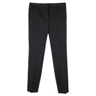 Miu Miu Black Wool Cigarette Trousers with Silk Insert