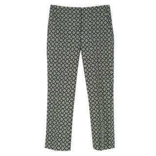 Prada Green Printed Wool Blend Trousers