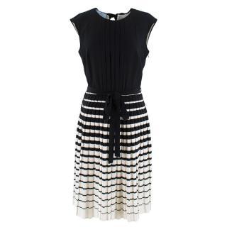 Prada black & white a-line silk pleated dress