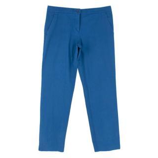 Etro Blue Cotton Ankle Crop Trousers