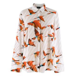 Akris Printed White Sheer Cotton Shirt