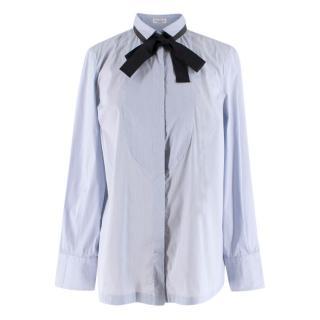 Brunello Cuncinelli Blue Striped Shirt with Monilli Bead Tie