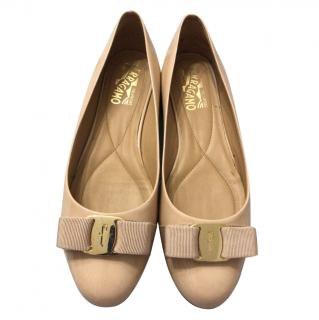 Salvatore Ferragamo Nude Leather Ballerina Flats