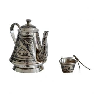 Kubachi Handmade Niello Silver Tea Pot & Strainer