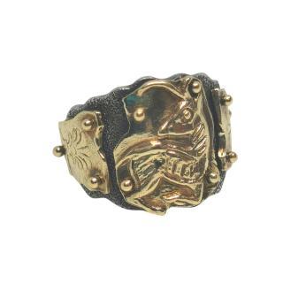 Urart Bespoke Hammered Silver & Gold Ring