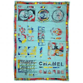 Chanel Turquoise Cashmere Printed Shawl