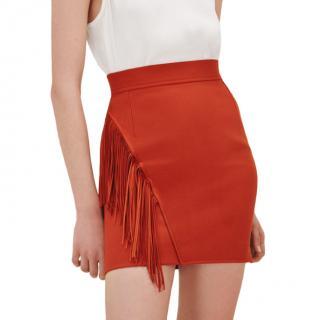 Maje Terracotta Jano Fringed Skirt