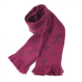 Louis Vuitton wool & silk purple logomania scarf