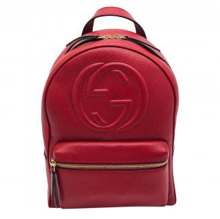 Gucci Red Grained Leather Soho Backpack