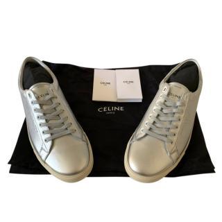 Celine Metallic Silver Triomphe Sneakers