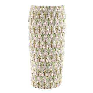 Prada green jacquard floral midi skirt