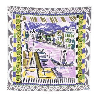 Prada Purple Printed Silk Painted Scarf