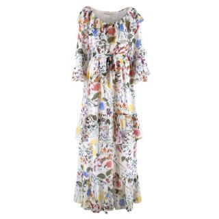 Borgo De Nor White Floral Silk Maxi Dress