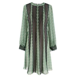 Mikael Aghal Green floral print dress with black lace trim