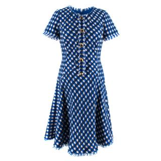Oscar De La Renta Blue & White Tweed A-Line Dress