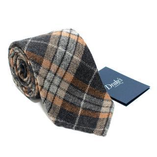 Drake's Grey Checked Cashmere Tie
