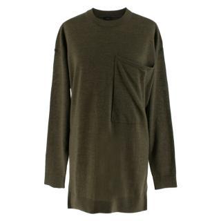 Joseph Green Merino Wool Tunic with Oversize Pocket