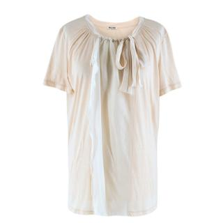 Miu Miu Short Sleeve Silk Cotton T-shirt with Chiffon Bow