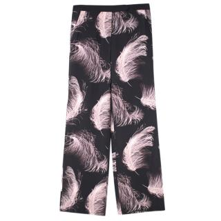 ALC Feather Print Black Silk Trousers