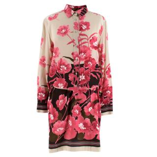 Loro Piana Silk Floral Print Belted Shirt Dress