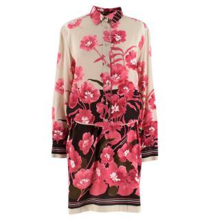 Loro Piana Silk Floral Print Belted Shirt Dress