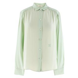 Celine Mint Green Mulberry Silk Shirt