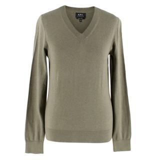 APC Green Cotton-Cashmere Jumper