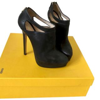 Fendi Leather Cut-Out Booties