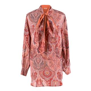 Celine Pink Paisley Pussy Bow Oversize Shirt