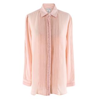 Oscar De La Renta Blush Ruffle Detail Button-Up Shirt