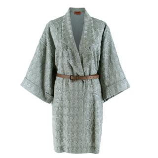Missoni Duck Egg Blue Embroidered Knit Coat