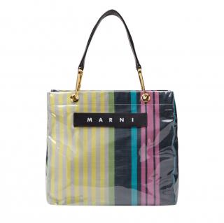 Marni Striped polyamide Glossy Grip shopper - Current Season