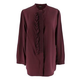 Akris Burgundy Silk Ruffle Shirt