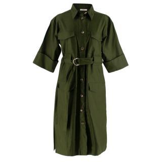 Celine Green Cotton Utility Dress