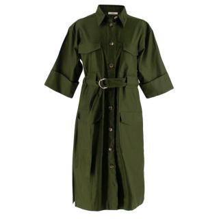 Celine Green Cotton Utility Dress
